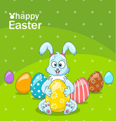 Easter bunny egg hunt cartoon comic rabbit vector