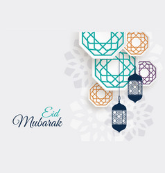Eid festival decorative lamps with islamic vector