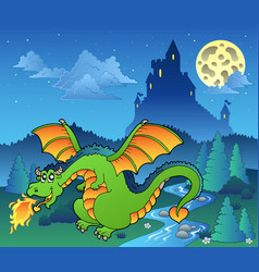 Fairy tale image with dragon 4 vector