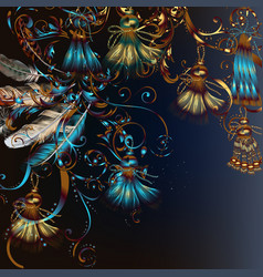 fashion background with feathers and tassles vector image