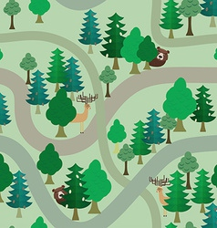 Forest seamless pattern Bear and deer among trees vector image
