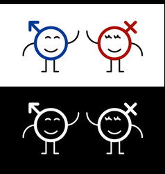fun smile male and female symbols with faces vector image