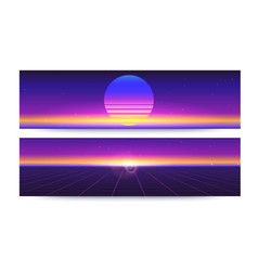 Futuristic abstract banners with sun rays on vector