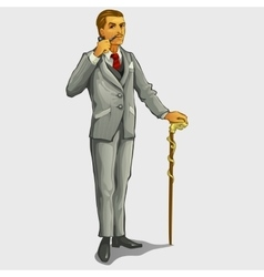 Gallant gentleman with cane and pipe retro image vector