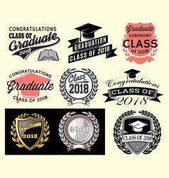 graduation sector set class of 2018 congrats grad vector image