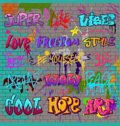 Graffiti graffito of brushstroke lettering vector