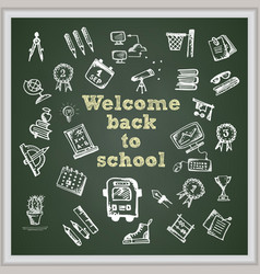 hand drawn school icon on chalkboard with text vector image