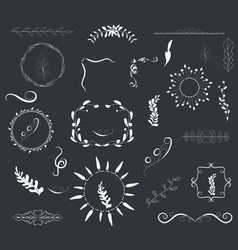 Hand drawn set florals wreaths and ribbons vector