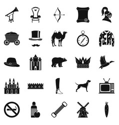 Horseman icons set simple style vector