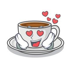 In love coffee character cartoon style vector