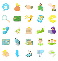 Internet money icons set cartoon style vector