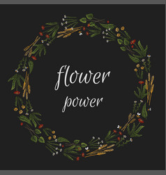 isolated graphical floral wreath vector image