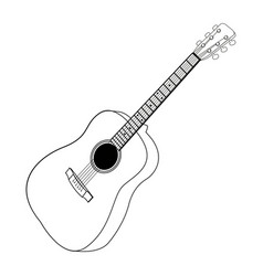 Isolated guitar outline vector