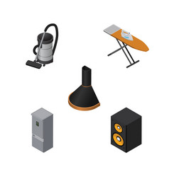 Isometric technology set of vac music box air vector