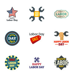 labor day logo set flat style vector image