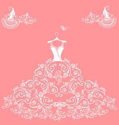 Lace wedding dress vector