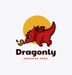 logo dragon mascot cartoon style vector image