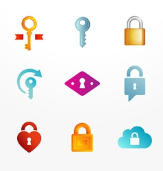 logo icon set based on key and secure lock symbols vector image