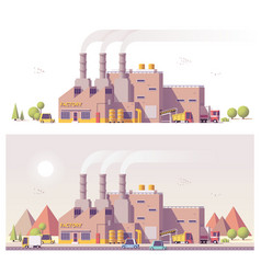 Low poly 2d factory vector