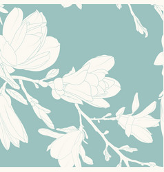 magnolia flowers leaves tree branch seamless vector image