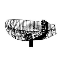 Military radar air surveillance silhouette vector