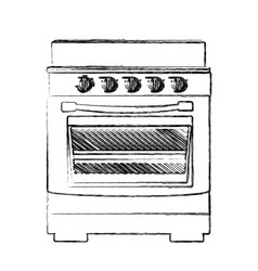 monochrome sketch of stove with oven vector image