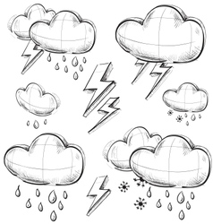 Nasty weather icons set vector