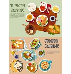 National cuisine of Turkey and Israel flat icon vector