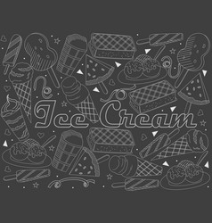 Objects of linear art piece of chalk theme of vector