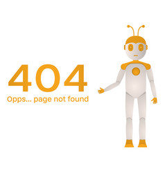 page not found error 404 the robot shows an error vector image
