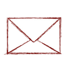 Paper envelope icon in dark red blurred silhouette vector