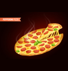 Pizza hot realistic composition vector