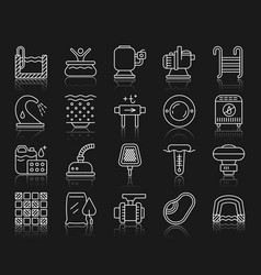 Pool equipment simple white line icons set vector