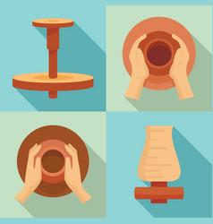 potters wheel icon set flat style vector image