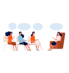 psychotherapy group women consultation with vector image