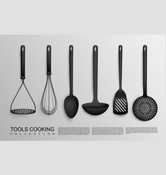 realistic black kitchen tools collection vector image