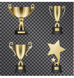 realistic golden trophy cups set vector image vector image