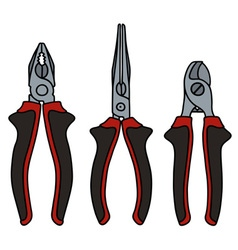 Red and black pliers vector