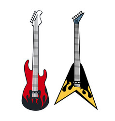 rock and roll guitars colorful vector image