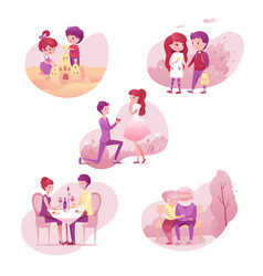 Romantic relationship stages set vector