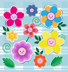 Set of cute flowers vector