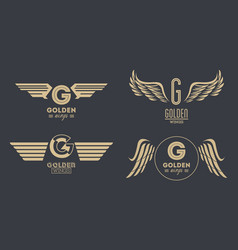 set of golden wings emblems vector image