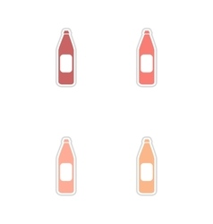 Set of paper stickers on white background bottle vector