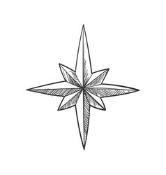 Simple star line icon engraving stylization vector