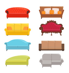 sofa collection bed classic divan modern coach vector image
