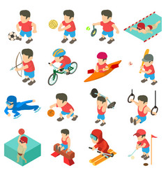 sport icons set isometric style vector image