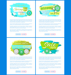 spring sale web posters with promo tags vector image