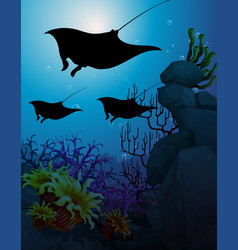 Stingray in underwater scene vector