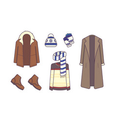 stylish winter clothes and accessories style and vector image