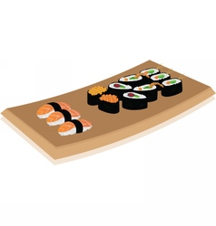 Sushi plate on white background vector